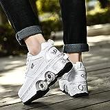 Chaussures À roulettes Sneakers Roller Chaussures De Skateboard Baskets avec Roues Sport Gymnastique Mode pour Garçons Et Filles Enfants,White-EUR36
