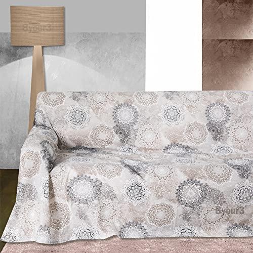 Byour3 Funda para sofá de 2, 3 y 4 plazas, de algodón, diseño de granfoulard