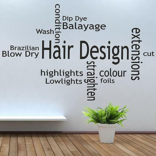 Diseño de pelo Cita Barbería Pared Pegatina Vinilo Decoración Interior Pegatinas Peluquería Palabras Extraíble Papel pintado Mural 57*89cm