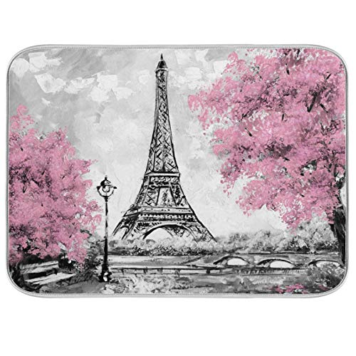 Lihuaval Paris - Alfombrilla de secado para platos de flores, diseño de Torre Eiffel