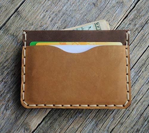 Braune und hellbraune Kartenhülle, Portemonnaie, langlebige Aufbewahrung von Kreditkarten und Banknoten, kleine Geldbörse