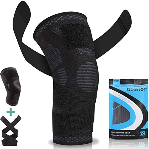 Beister Knee Compression Sleeves with Adjustable Straps for Men & Women, Professional Knee Support Brace for Meniscus Tear, Arthritis, Sports Joint Pain Relief, Running, Basketball