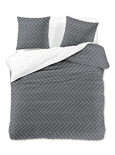 DecoKing Bettwäsche 155x220*2+80x80*2 4tlg 2 Bettbezüge 2 Kissenbezüge 80x80 Graphit geometrisch Renforcé Baumwolle Mako-Satin Baumwollsatin zweiseitig grau weiß