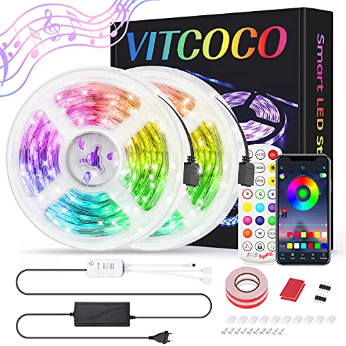 10M Bluetooth Tira LED, VITCOCO Tira LED 5050 RGB 10M(2×5M) de Flexibles Multicolor 300 LEDs Strip Con Mando a Distancia y Adaptador Corriente Para TV/Fiestas