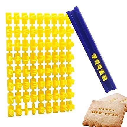 Juego SwirlColor 72 piezas del alfabeto de números y letras galletas sello de repostería supply, herramienta para hacer cualquier mensaje creastuce
