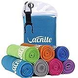 VACNITE クールタオル 速乾タオル 超吸水 軽量 速乾 熱中症対策 100×30cm 1枚 14種類選択可能 防水袋付き (ブルー)