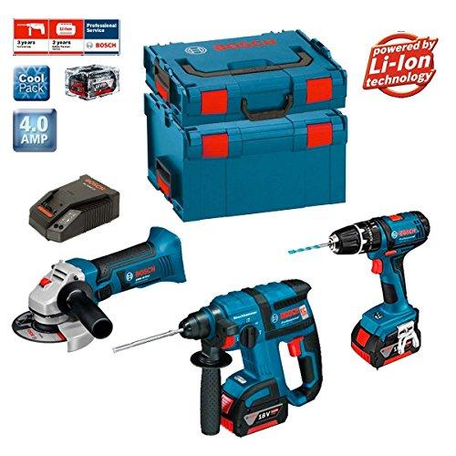 Bosch Kit PSL3M3 Professional (GBH 18 V-EC + GSB 18-2-LI + GWS 18 V-LI + 2 batterie x 4,0Ah + L-Boxx 238 + L-Boxx 136 + Caricatore AL1860CV)