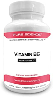 Pure Science Vitamin B6 (Pyridoxine Hydrochloride) 100mg with 5mg BioPerine (Natural Bioavailability Enhancer for Better Absorption) - Essential for Vitamin B6 Deficiency - 100 Vegetarian Capsules