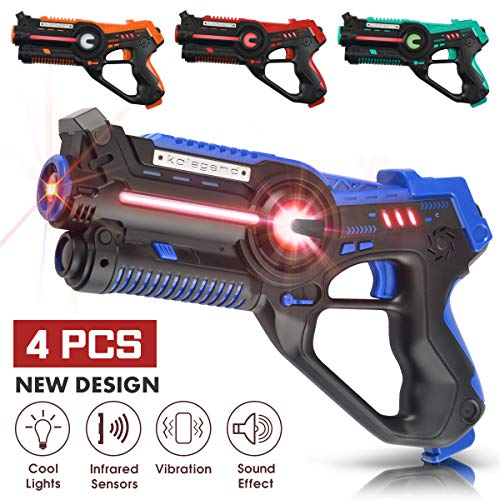 kolegend Laser Tag Set, Laser Tag Guns Set of 4 Multi Function Lazer Guns for Multi Player Teenager Kids and Adults Home or Backyard & Outdoor Game for Boys & Girls and Family