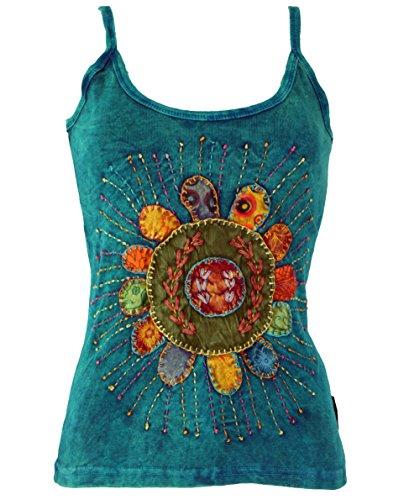 Guru-Shop Stonewash-Goa-Top, Damen, Türkis, Baumwolle, Size:M/L (40), Tops & T-Shirts Alternative Bekleidung