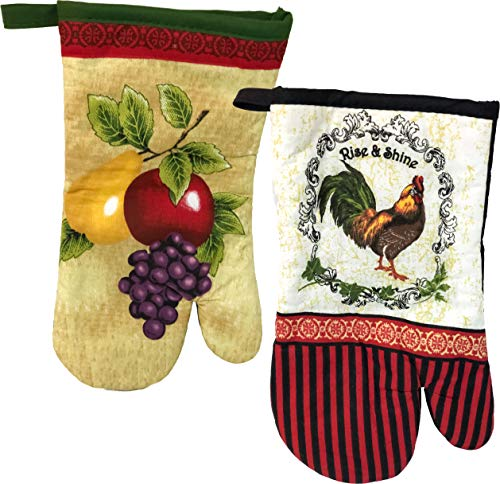 Kitchen TRENDS Printed Oven Mitts, 100% Cotton, 7 Inch by 12 Inch (Fruit & Rooster)
