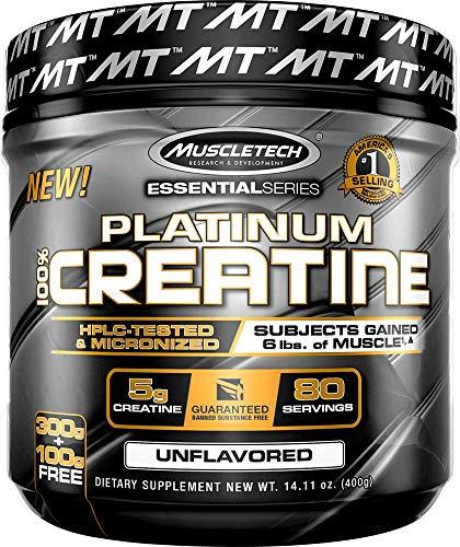 MuscleTech Platinum 100{44ebe51a0af9c6c616c8abc76e1886a905f64623926a37077fa6603094e6b2fb} Creatine, Ultra-Pure Micronized Creatine Powder, 80 Servings, 0.88 lbs (400g) by MuscleTech