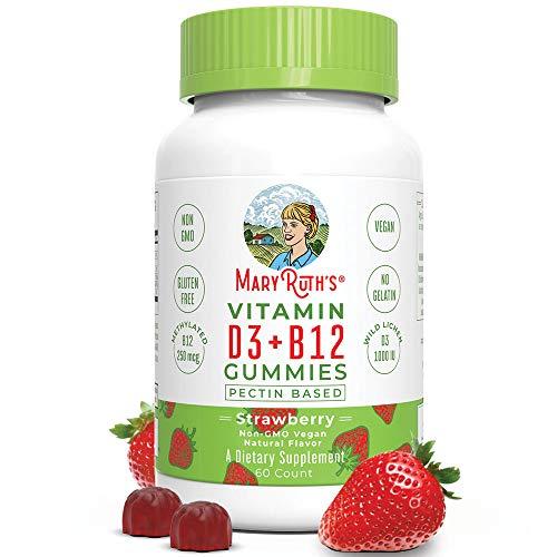 Vegan Vitamin D3+B12 Gummy (Plant-Based Gummies) by MaryRuth's - Made w/Organic Ingredients Non-GMO Vegan Paleo Gluten Free for Men, Women & Kids 1000 IU Vitamin D3 & 250 mcg Vitamin B12 60 Count by MaryRuth Organics