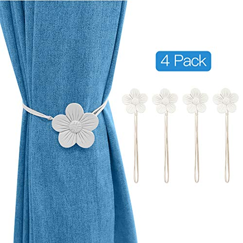 Lewondr Vintage Magnetischer Vorhang Raffhalter, 2 Paar Harz Blume Vorhangschnalle mit starkem dauerhaftem Magneten für Dekoration Zuhause Cafe Büro - Weiß