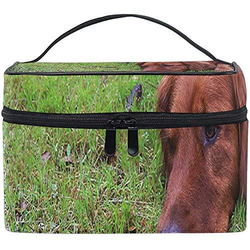 Trousse De Maquillage Golden Retriever Dog Allongé Grass Girls Travel Cosmetic Bag Womens Toiletry Organizer