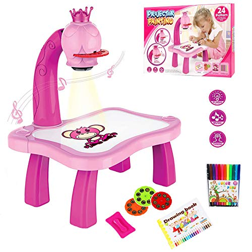 MOMSIV Projektor verfolgen und zeichnen Toy, Kinder-Zeichenprojektor-Tisch, Trace and Draw Projector Toy Kids Drawing Projector Table with Smart Projector and Light Music