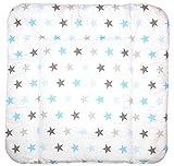 Baby Auflage Wickelauflage - STAR BLAU-GRAU - 70x50 cm 70x70 cm 70x85 cm Wickeltischauflage 70x50 cm