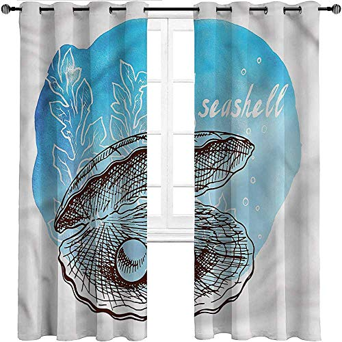 UNOSEKS LANZON Curtain Pearls, Clam Seashell and Seaweed Sliding Glass Door Drape Blocking Out Heat and Light (2 Panels, W152.5 x L214 cm)