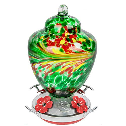 REZIPO Hummingbird Feeder with Perch - Hand Blown Glass - Red - 38 Fluid Ounces Hummingbird Nectar Capacity Include Hanging Wires and Moat Hook (Dark Green)