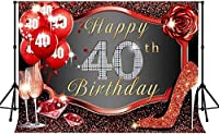 Zhy 40th Happy Birthday Backdrop 7x5ft / 2.1x1.5m New Vinyl High-heeled Shoes Glitter Photography Background Banner Photo Shooting Props 290
