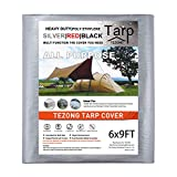 Tarps Heavy Duty Waterproof 6x9ft,TEZONG Poly Tarpaulin Multipurpose Tarp Covers Outdoor Cover Silver 13MIL Thick for Emergency Rain,Roof,Patio Furniture