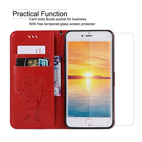 Fatcatparadise Cover iPhone 8 Plus/iPhone 7 Plus [Vetro Temperato Screen Protector], (Gatto e Albero Serie) Retro Flip Caso Custodia Silicone PU per Apple iPhone 8 Plus/iPhone 7 Plus (Rosso)