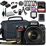 Nikon D750 DSLR Camera with 24-120mm Lens (1549) USA Model + Deluxe Padded Camera Bag + 77mm UV Filter + Color Multicoated 6pcs Filter Set + SanDisk 64GB Extreme PRO Memory Card + More