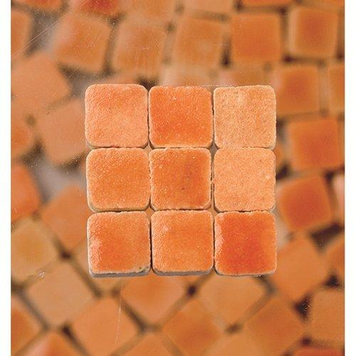 MosaicMicros 5 x 5 x 3 mm, 10 g, Confezione da 100 Pezzi, in Ceramica Smaltata, Mini mattonelle a Mosaico, Colore: Arancione Pastello