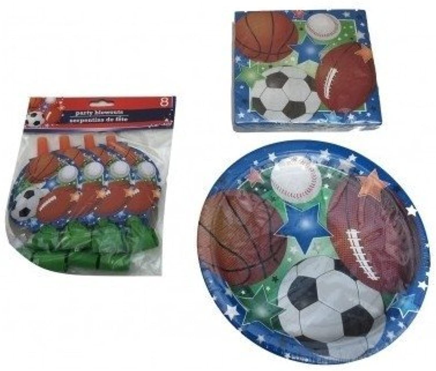 Kids Sports Party Supplies Paper Plates Party Blowouts & Napkins Baseball Basket Ball Football Soccer Themed Party Supplies by Grünbrier
