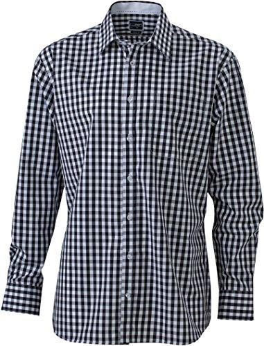 James & Nicholson Herren Men's Checked Shirt Freizeithemd, Schwarz (Black/White), XX-Large
