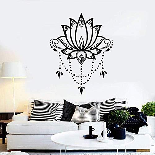 Flor De Loto Naturaleza Sala De Yoga Meditación Relajación Zen Vinilo Pegatinas De Pared Calcomanía Decoración Del Hogar Sala De Estar Arte Mural Regalo-58X75 Cm Negro