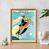 HNZKly Vintage Cebra SeñOra Pared Arte Vogue Revista Portada Poster Moda Mujer De La Lona Cuadro A...