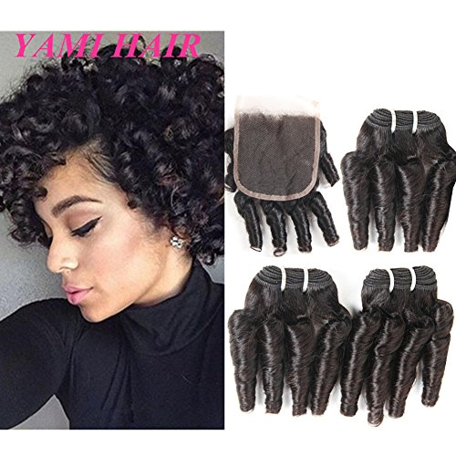 YAMI 8a Brazilian Human Hair Bundles, Water Wave Curly Weave Short Hairstyles, 100% Unprocessed Virgin Hair Extensions with Lace Closure 50g one bundle (8 8 8 + 8 Closure)