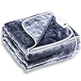 Electric Heated Blanket- Wellhut Fast Heating Throw with 3 Heat Levels & 2 Hours Auto Off, Soft Flannel Warm Blankets for Home Office Uses, UL Certified, Machine Washable