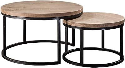 Table Basse Design Industrielle en Bois Massif pour salon
