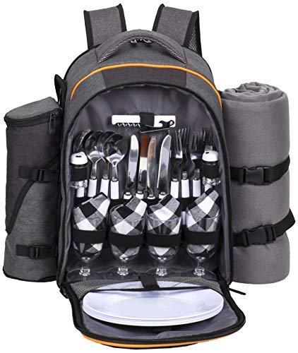 Hap Tim Picknick-Korb-Rucksack für 4 Personen mit isoliertem Kühlfach, Weinhalter, Fleece-Decke, Besteck-Set, perfekt für Strand, Tagesreisen, Camping, Grillen, Hochzeitsgeschenke (36021)