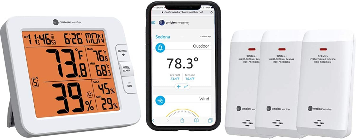 Ambient Weather WS-8482-X3 Wireless 7-Channel Internet Remote Monitoring Weather Station with Three Indoor Outdoor Temperature & Humidity Sensors, Compatible with Alexa