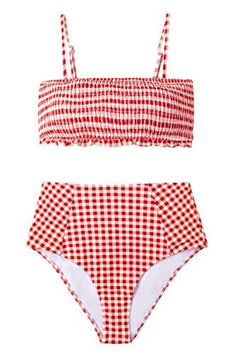 CUPSHE, Bikini de Cintura Alta con Estampado a Cuadros Rojos para Muje