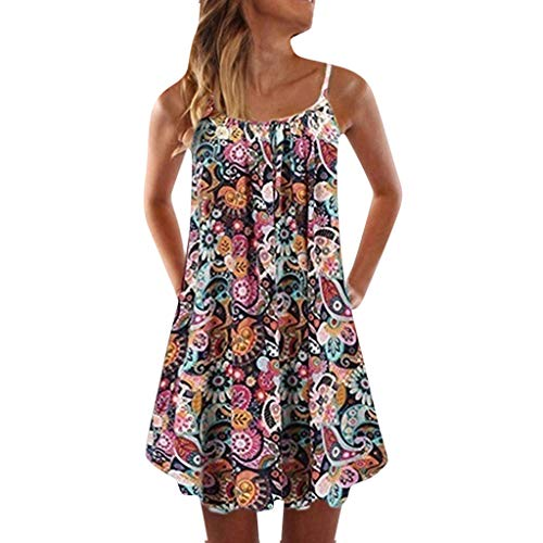 Xinantime Womens Printed Spagetti Camisole Mini Dress Casual A-line Bohemian Sleveless Summer Dress Lady Beach Dresses (Orange,S)