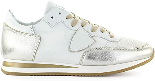 Philippe Model Chaussures Femme paniers Tropez Mondial Metal Blanc Or SS 2019