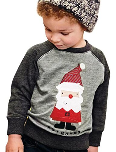 Kids Baby Boys Girls Christmas Santa Claus Print Sweatshirt Long Sleeve T-Shirt Size 1-2T (Gray)