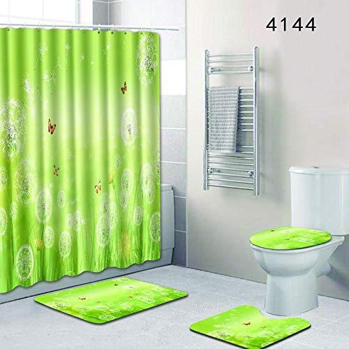 Vlejoy Conjunto De Cortina De Ducha Impermeable Verde Antideslizante Alfombra Cubierta De Inodoro Almohadilla En Forma De U para Enviar Gancho 4 Piezas