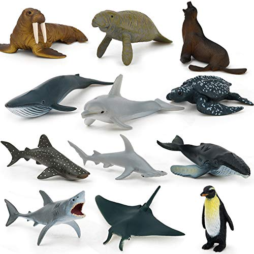 Sea Animal Toy Set12 pcs Animal Sea Figures Ocean Toy for Kids Realistic Set for Sea Lovers Includes Great White Shark  Dolphin White Shark Whale