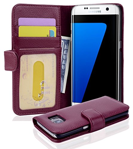 Cadorabo Funda Libro para Samsung Galaxy S7 Edge en Burdeos Violeta - Cubierta Proteccíon con Cierre Magnético e 3 Tarjeteros - Etui Case Cover Carcasa