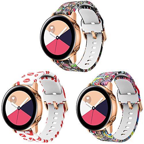 SUPORE Galaxy Watch Active 40mm armband, 20mm universeel reservebandje horlogeband sportarmband voor Samsung Galaxy Watch 42mm Gear 2 Classic/Gear Sport/Garmin Vivoactive 3/Forerunner 645 en meer, 3 stuks (persoonlijke stijl).