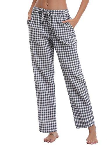 Aibrou Damen Schlafanzughose Lang Pyjamahose Karriert Freizeithose Baumwolle Nachtwäsche Loungewear Bermuda Sleepwear für Frauen (Medium, Blau(Kariert))