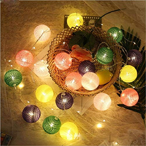 N-B 20 L E D Cotton Ball Garland String Lights Christmas Fairy Lighting Stringsfor Outdoor Holiday Wedding Xmas Party Home Decoration