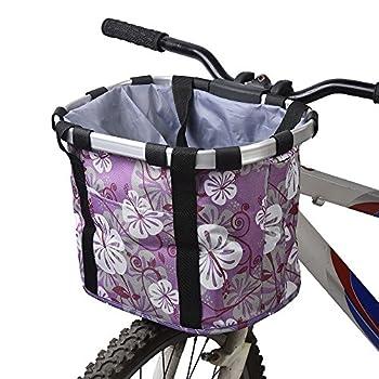 Redlution Panier pour avant de vélo amovible en toile, panier de transport pour animal domestique, cadre en alliage d'aluminium, violet
