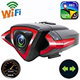2400mAh Action Camera,IP5 Waterproof WiFi Front and Rear Bike Video Camera with Phone Holder,LED Turn Signal and Safety Warning Lights,Speedometer,GPS Tracking Device,Wireless Remote Control,Rear