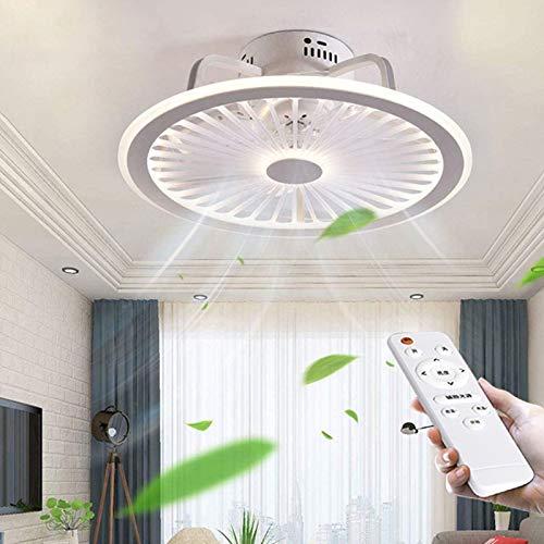 Ventilador De Techo Con Iluminación Control Remoto Regulable 56W LED Temporizador Luz De Techo Ventiladores De Techo Ultra Silenciosos Invisibles Sala Estar Moderna Lámpara Dormitorio,Blanco